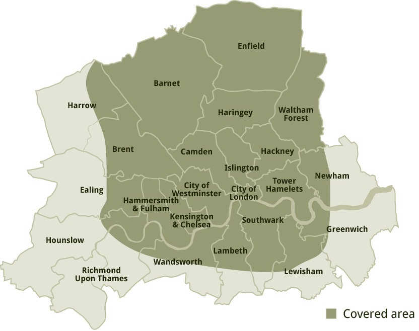 Map showing boroughs covered by M. Parkin Tree Specilists Services